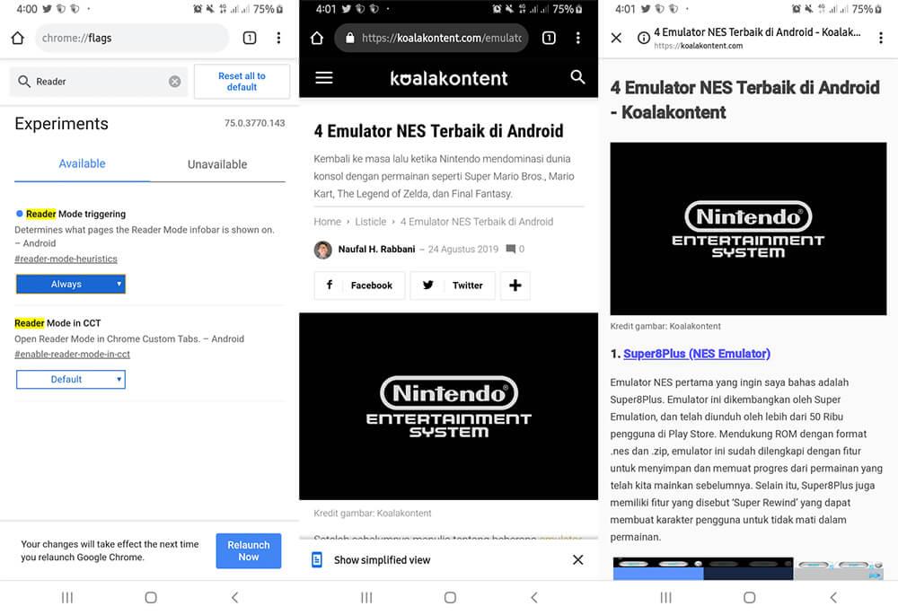 Cara Mengaktifkan Reader Mode Google